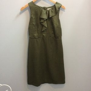 LOFT green mini dress with ruffle top size 0
